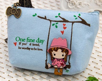 Blue coin 1 X girl wooden swing