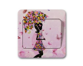 X 1 decal woman and her parasol flower for switch