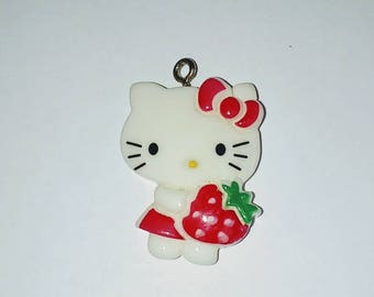 X 1 white cat and his Strawberry kawaii 30mm