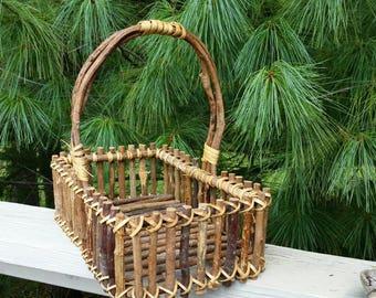 Rustic Twig Basket Farmhouse Decor