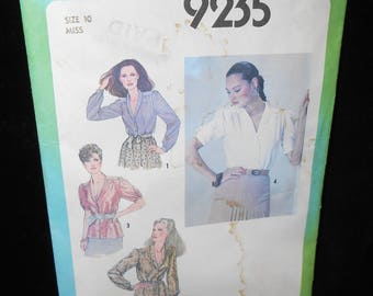 Misses Blouse Shirt Simplicity 9235 Womens Blouse Shirt Size 10 Short Long sleeves