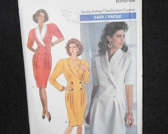MIsses dress Butterick 3923 Womens Size 14-18 Easy Petite Shawl collar