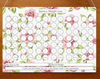 Flowers Weight Loss Dry Wipe Whiteboard Chart