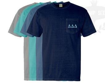 Delta Delta Delta - Tri Delta - Greek Letters Embroidery T-Shirt - Comfort Colors Shirt with Pocket