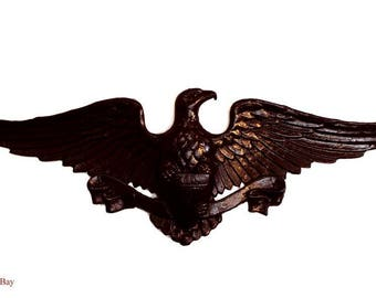 Spread Winged American Eagle with Shield Ribbon, Dark Bronze