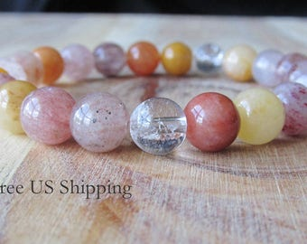 8mm Rutilated Quartz Bracelet, Gemstone Bracelet, Womens or Mens Bracelet, Mens Jewelry, Gift for Men, Mala Yoga Jewelry, Mala Bracelet,