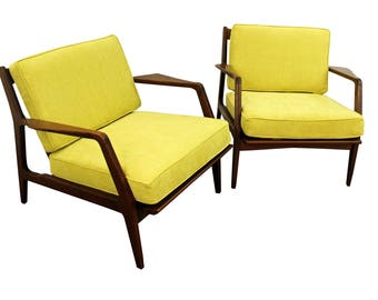 Mid-Century Lpunge Chairs Danish Finn Juhl Style Open Citron Walnut Arm Chairs-PAIR