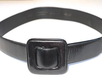 "Vintage Black Leather Belt,Liz Claiborne 4cm/1.6"" Wide Belt,Black Belt with Covered Square Buckle,Size Large,Waist Cincher,Designer Belt"