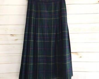Vintage Pendleton Green Tartan Plaid Midi Skirt Women's 12 Large