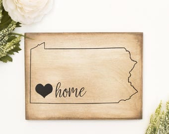 Pittsburgh Gift, Pittsburgh Pennsylvania Home Love Painted Mini Sign, Pittsburgh Art, Pittsburgh Wall Art, Small Wooden Pittsburgh Sign