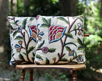 Pair of Vintage Jacobean Crewel Accent Pillows / Jacobean Floral Pillows / Jacobean Botanical / Two Jacobean Crewel Pillows / Jewel Tones