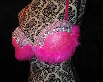 Barbie Bra, Pink Rave Bra, EDC Bra, Glitter Rave Bra, Festival Bra, Barbie Rave Bra