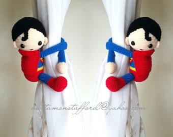 A pair of Superman Crochet curtain tie back,  Crochet superman,Nursery tie backs.*** MADE TO ORDER***