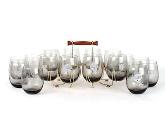 1970s Smoke Grey Cincinnati Bengals Glasses and Holder