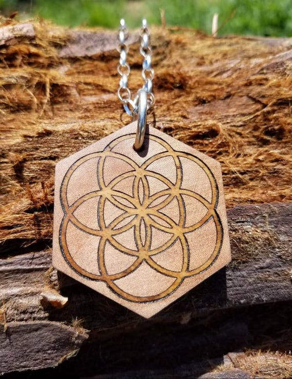 Seed of Life Inlaid Reclaimed Wood Pendant - Sacred Geometry - Pacific Madrone/Claro Walnut with Sterling Silver