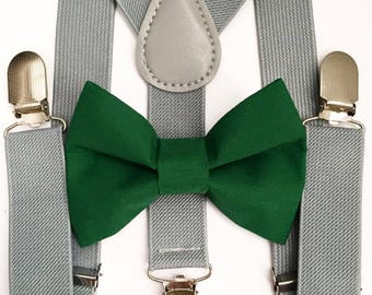 FREE DOMESTIC SHIPPING! Gray suspenders  + hunter green Bow tie toddler kids boy boys Adult holidays photos family photoshoot