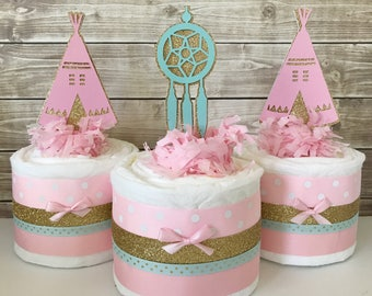 SET OF 3 Tribal Mini Diaper Cakes in Light Pink, Mint anf Gold, Tribal Baby Shower Centerpieces, Boho Baby Shower Decorations