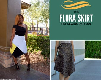 Flora Skirt:  Instant Asymmetrical PDF sewing Pattern and Tutorial, instant printable for women's skirt PDF sewing pattern. Plus size includ