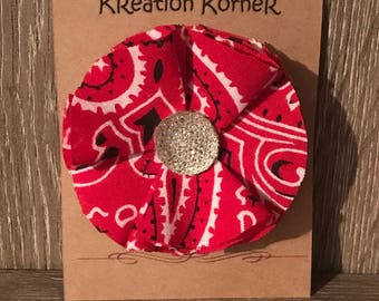 Red bandana bow with jeweled center on large alligator clip