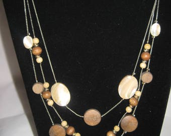 """60"""" faux wood beaded necklace"""