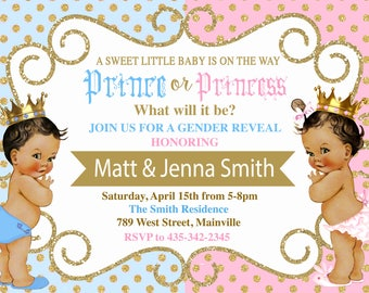 Prince or Princess, Boy, Girl, Prince, Princess, Gender Reveal, Baby Shower, Invitation. ANY SKIN TONE - Digital or Printed