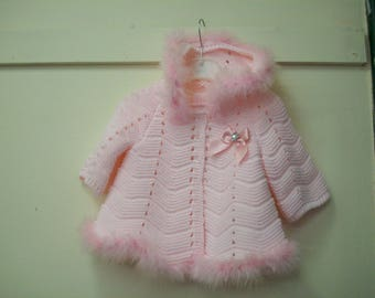 Pink marabou trimed  baby cardigan..christening gift, baby shower, family  gathering..