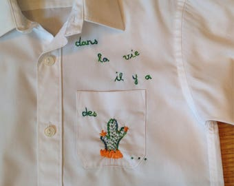 White vintage shirt boy 6 cactus hand embroidered
