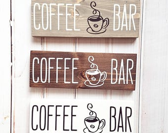 """Coffee Bar signs. 10 x 3.5"""". Black and white, gray black and white or espresso and white color options!"""
