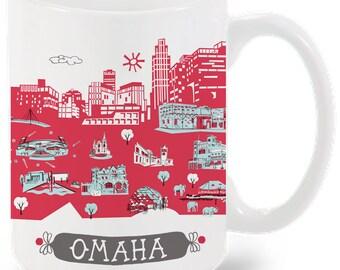 Omaha Mug-City Mug-Coffee-Tea-Kitchen-Red-Light Blue-Grey-Kitchen-Foodie-Cooking-Baking-Personalized-Custom