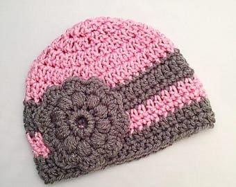 Girls Newborn Baby Beanie Ready To Ship Girls Hat Pink Silver and Gray Crochet Baby Beanie Baby Shower Gift Baby