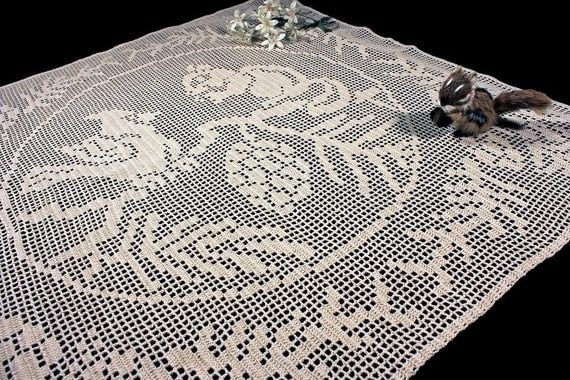 Tablecloth, Wall Hanging, Curtain, Crochet, Squirrel and Bird Design, Filet Crochet, Square, Ecru, Natural