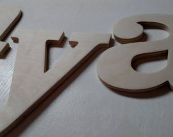 "13"" Unpainted Wood Letters & Numbers."