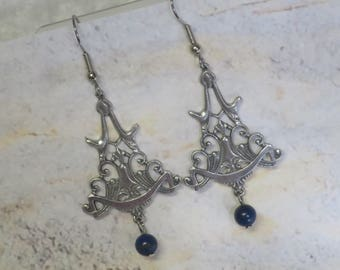 Vintage Style pewter earrings with Lapis Lazuli  CCS147