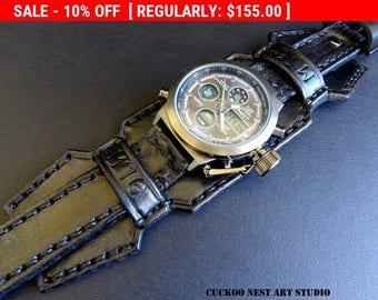 Leather Cuff, Wrist Watch, Black watch, Men's Leather Cuff, Bracelet Watch, Black Watch Cuff
