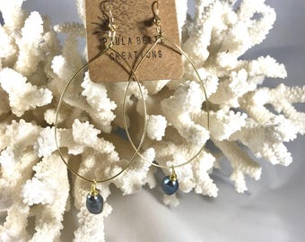 Freshwater black pearl gold colored teardrop earrings