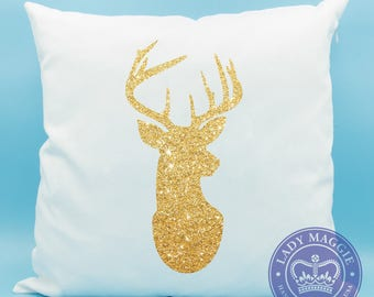 Glitter Deer Head Silhouette Pillow - Gold Deer Head Throw Pillow - Gold Glitter Deer Head - Sparkly Stag Head - Deer Silhouette Cushion