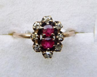 ON SALE Victorian yellow gold ruby red doublet and old mine cut diamond moi et toi engagement ring size 5 1/4