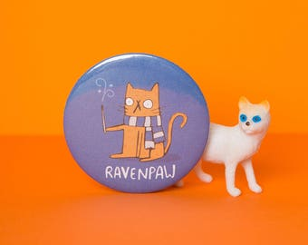 Ravenpaw - Ravenclaw - Harry Potter inspired - 55mm - Pin Badge - Pocket Mirror - Fridge Magnet - Keyring - Katie Abey - fan art - party