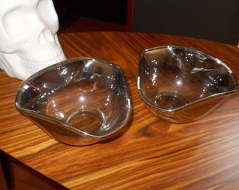 Set of 2 Mercury Glass Bowls Vintage Silvered Bowls  Mid Century Modern