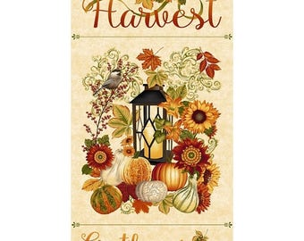 "Summer Sale- Harvest Gathering Panel 24"" x 44"" ~Cotton Fabric,by Henry Glass 8768P-44 ,Fast Shipping,F891"