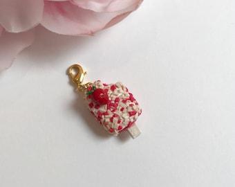 Strawberry shortcut popsicle charm
