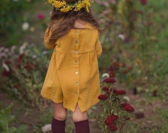 Girls Muslin Long Sleeve Dress Cotton Mustard