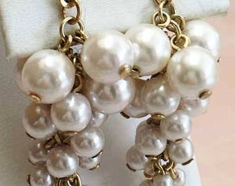 Soft & Subtle, Dangling, Cluster of Faux Pearls Earrings