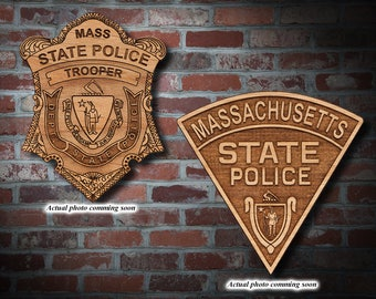 Personalized Wooden Massachusetts SP Badge or Patch Plaque