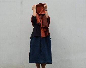 946---Heavy Weight Linen Skirt, Trimmed with Knit Hemline, Blue A Linen Skirt, Fall, Winter Long Skirt, Made to Order.