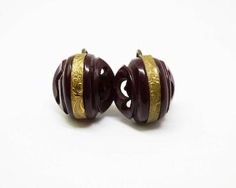 Pierced Carved Chocolate Brown Bakelite Earrings Engraved Metal Overlay Bakelite Screwbacks