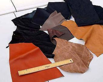 Assorted Cowhide scrap leather mix 2-3 hands 0.45 Kg