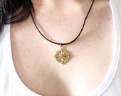 Antique gold Compass leather UNISEX necklace  choker  boho jewellery charm necklace leather necklace mens jewelry