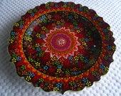 "Platter, Turkish ceramic platter, 12"" Platter, raised floral design, large plate, black and red plate, serving plate, wall art, wedding gift"