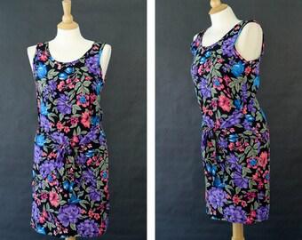 Vintage Floral Wrap Dress, Pull Over Beach Dress, Women's Medium Dress, Hawaiian Floral Dress, Sleeveless Summer Dress, 80s Floral Dress